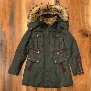Andrew Marc olive green fitted fur trim down coat